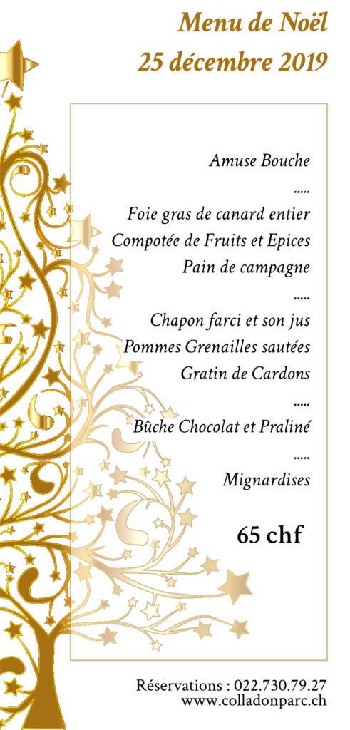 Menu de Noel Restaurant Colladon Parc Genève